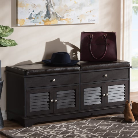 Contemporary Dark Brown 2-Drawer Shoe Storage Bench by Baxton Studio