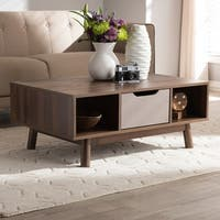 Mid-Century Brown and Grey Coffee Table by Baxton Studio