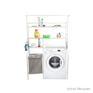 Mind Reader Long Washing Machine Shelf and Rack with 4 Hooks, White