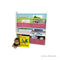 Mind Reader Book Shelf with 2 Collapsible Drawers, Gray