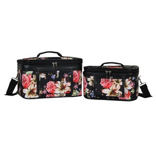 World Traveler Flower Bloom 2-Piece Train Cosmetic Case Set