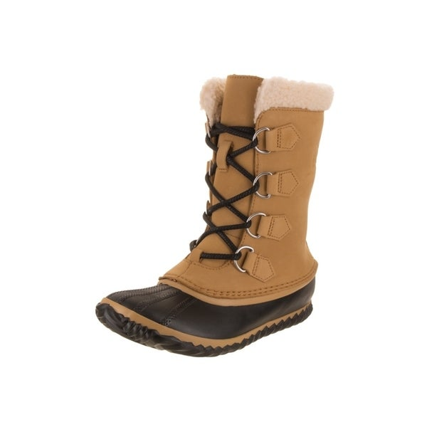 67e4ab2735ac1 Shop Sorel Women s Caribou Yellow Black Nubuck Leather Slim Boots ...