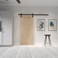 Farm Style Sliding Door, Unfinished with Sliding Door Hardware Kit