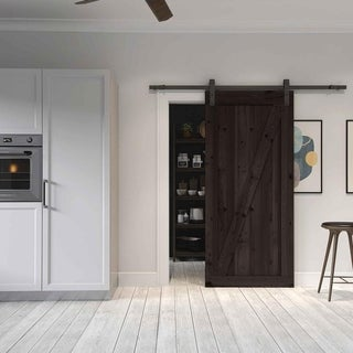 Farm Style Sliding Door, Distressed Smoke Finish with Sliding Door Hardware Kit