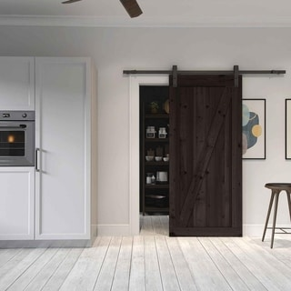 Farm Style Sliding Door, Distressed Smoke Finish With Sliding Door Hardware  Kit