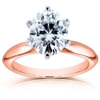 Annello By Kobelli 14k Gold 2 1 10ct Oval Forever One D F Moissanite Solitaire Engagement Ring DEF VS