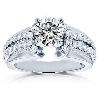 Annello By Kobelli 14k White Gold 1 1 2ct TGW Moissanite And Diamond Split Shank Engagement Ring