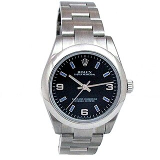 Pre-owned 31mm Rolex Stainless Steel Oyster Perpetual Watch with Black Dial