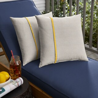 Humble + Haute Sunbrella Cast Silver and Canvas Sunflower Yellow Small Flange Indoor/ Outdoor Square Pillow, Set of 2