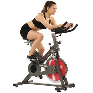 Sunny Health & Fitness Black Adjustable Portable Belt-drive Indoor Cycling Bike with 44 lb Flywheel