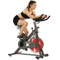 Sunny Health & Fitness Black Adjustable Portable Belt-drive Indoor Cycling Bike with 44 lb Flywheel