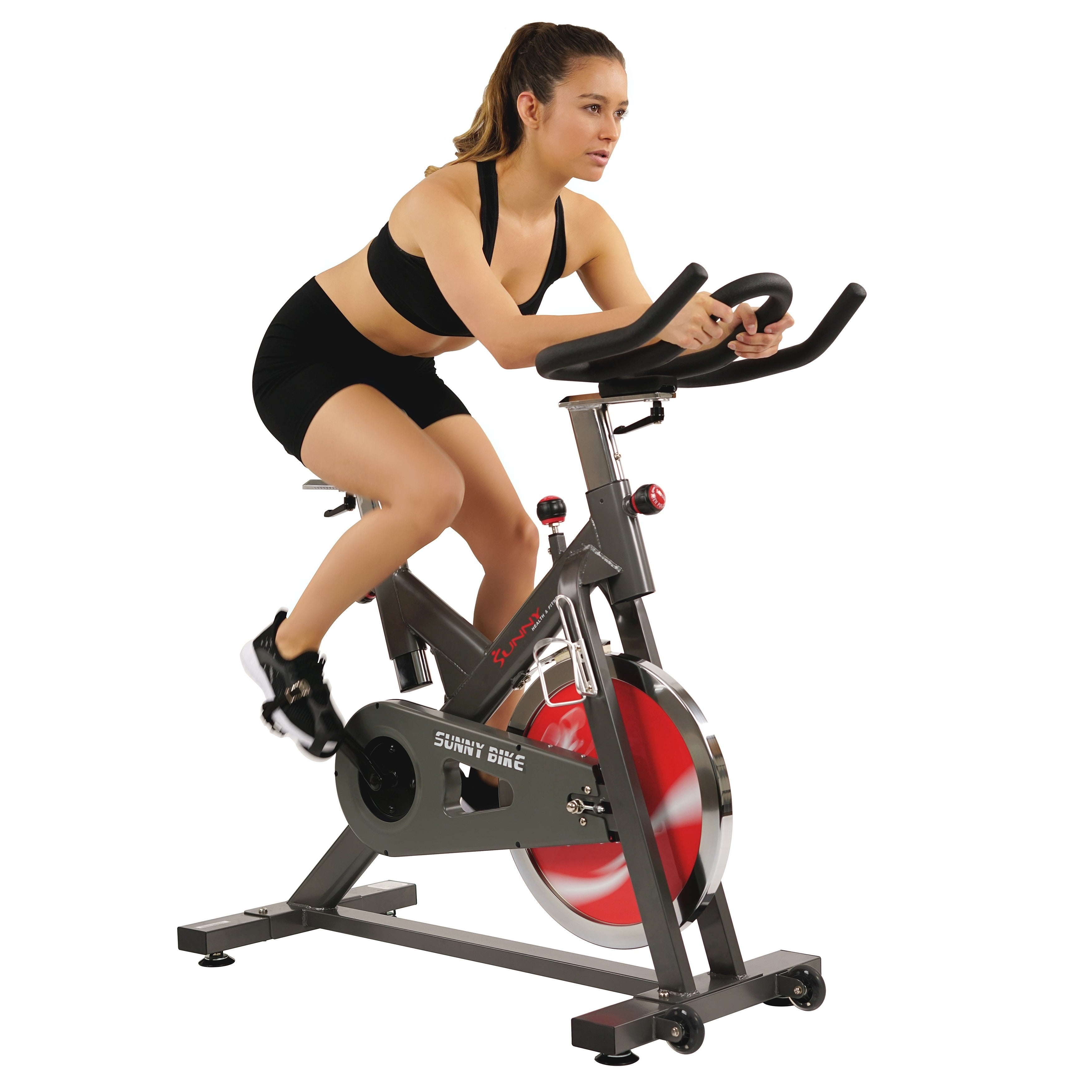Sunny Health & Fitness Belt Drive Indoor Cycling Bike - 44 lb Flywheel,  Adjustable and Portable Exercise Bicycle - Black