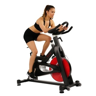 Sunny Health & Fitness Evolution Pro Magnetic Belt Drive Indoor Cycling Bike, High Weight Capacity, Heavy Duty Flywheel - Black