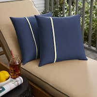 Humble + Haute Sunbrella Canvas Navy and Canvas Natural Small Flange Indoor/ Outdoor Square Pillow, Set of 2