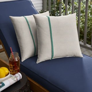 Humble + Haute Sunbrella Cast Silver and Canvas Teal Small Flange Indoor/ Outdoor Square Pillow, Set of 2