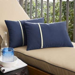 Link to Humble + Haute Sunbrella Canvas Navy and Canvas Natural Small Flange Indoor/ Outdoor Lumbar Pillow, Set of 2 Similar Items in Outdoor Cushions & Pillows