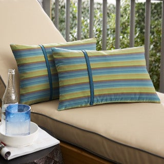Humble + Haute Sunbrella Astoria Lagoon Stripe and Spectrum Peacock Small Flange Indoor/ Outdoor Lumbar Pillow, Set of 2