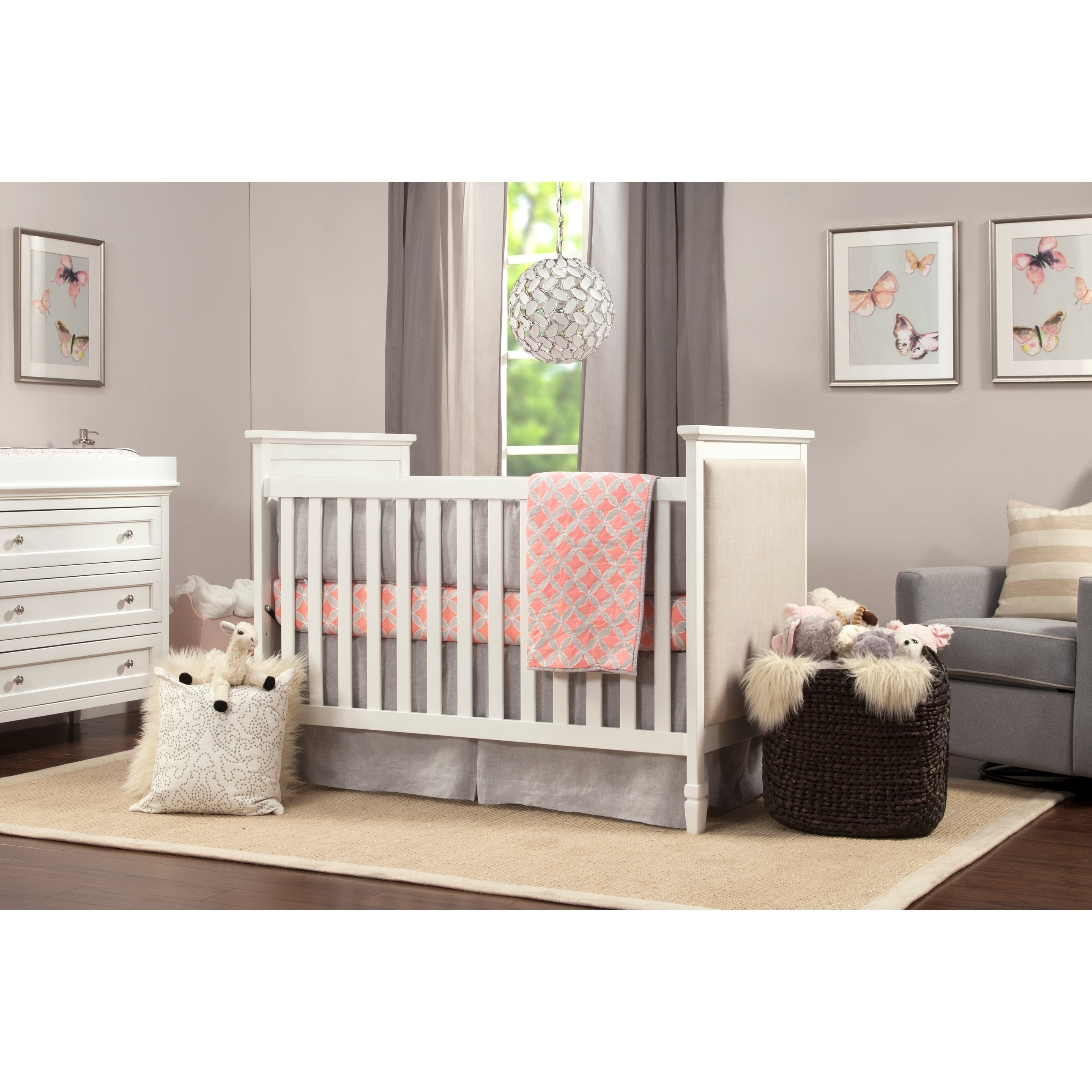 DaVinci Lila 3 in 1 Upholstered Convertible Crib in White and Oatmeal