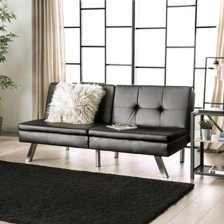 Furniture of America Stensall Contemporary Tufted Leatherette Split-back Convertible Futon Sofa