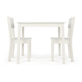 Wood Kids Table & 2 Chairs Set, White