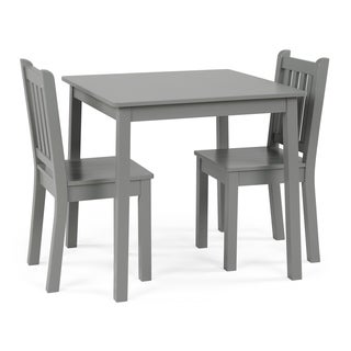Wood Kids Table & Chairs 3 Piece Set, Grey