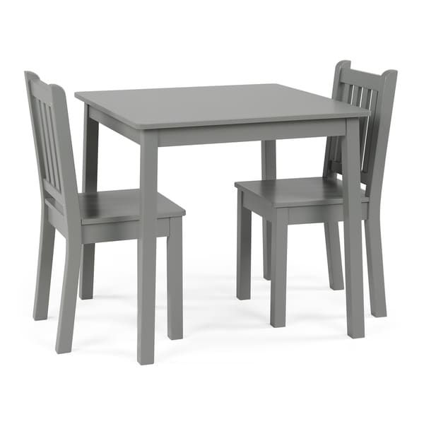 Wood Kids Table u0026&; Chairs 3 Piece Set ...  sc 1 st  Overstock.com & Shop Wood Kids Table u0026 Chairs 3 Piece Set Grey - Free Shipping ...