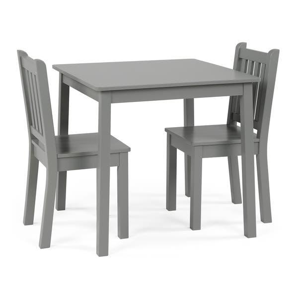 Wood Kids Table Chairs 3 Piece Set Grey Free