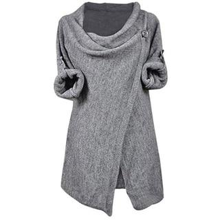 Cupshe Women's Solid Color Asymmetric Hem Split Wrap Sweater Poncho Coat Knitting Top