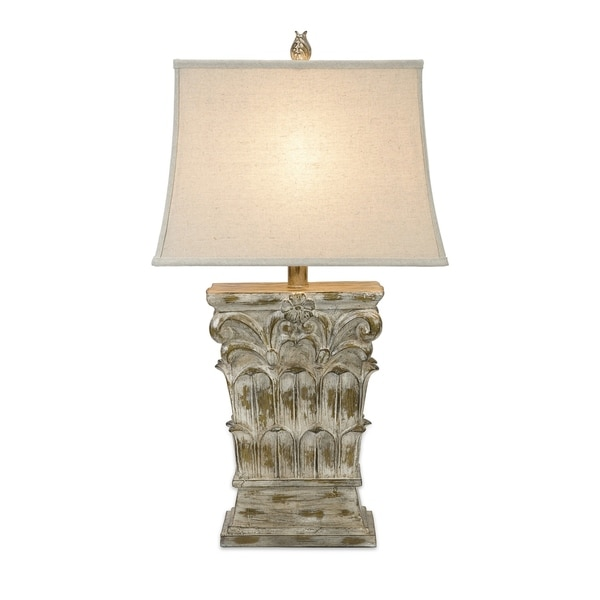 Wood Carved 31-inch Table Lamp