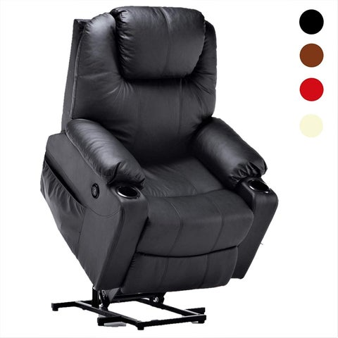 Electric Power Lift Massage Sofa Recliner Heated Chair Lounge w/ Remote Control USB Charging Ports, 7045