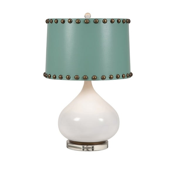 Table Lamp with Hammered Nail Design Fabric Shade