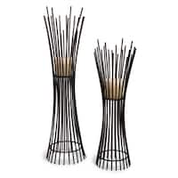 Contemporary Styled Metal Candleholder Duo - Set of 2