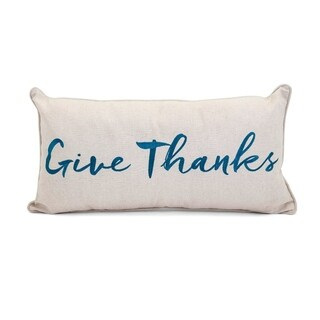 Embroidered Give Thanks Pillow - Beige - Benzara