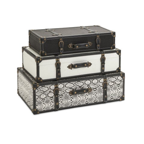 Vintage Storage Trunks - Set Of 3 - Black