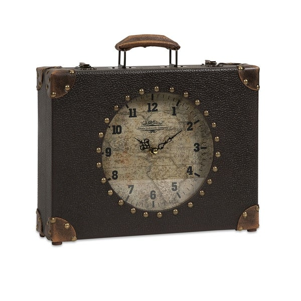 Vintage World Map Suitcase Clock