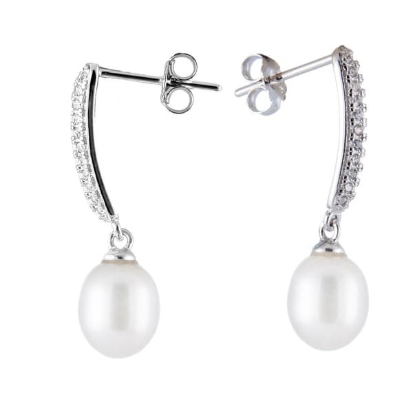 Sterling Silver Bar Earrings With Dangling Pearl White