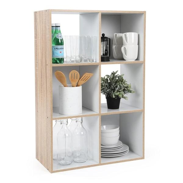 6 Cube Storage Unit, Natural/White
