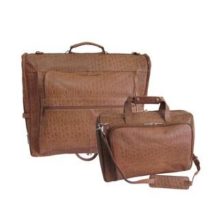 Amerileather Brown Pebble-Print Leather 2-piece Garment Bag/Business Tote Bag Luggage Set