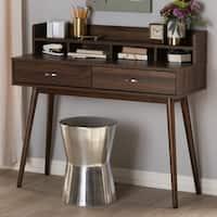 Mid-Century  Brown 2-Drawer Desk by Baxton Studio