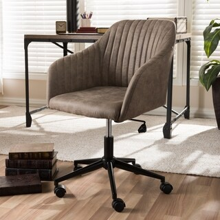 Mid-Century Brown Fabric Office Chair by Baxton Studio