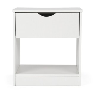 End Table w/ Pull-out Drawer, White