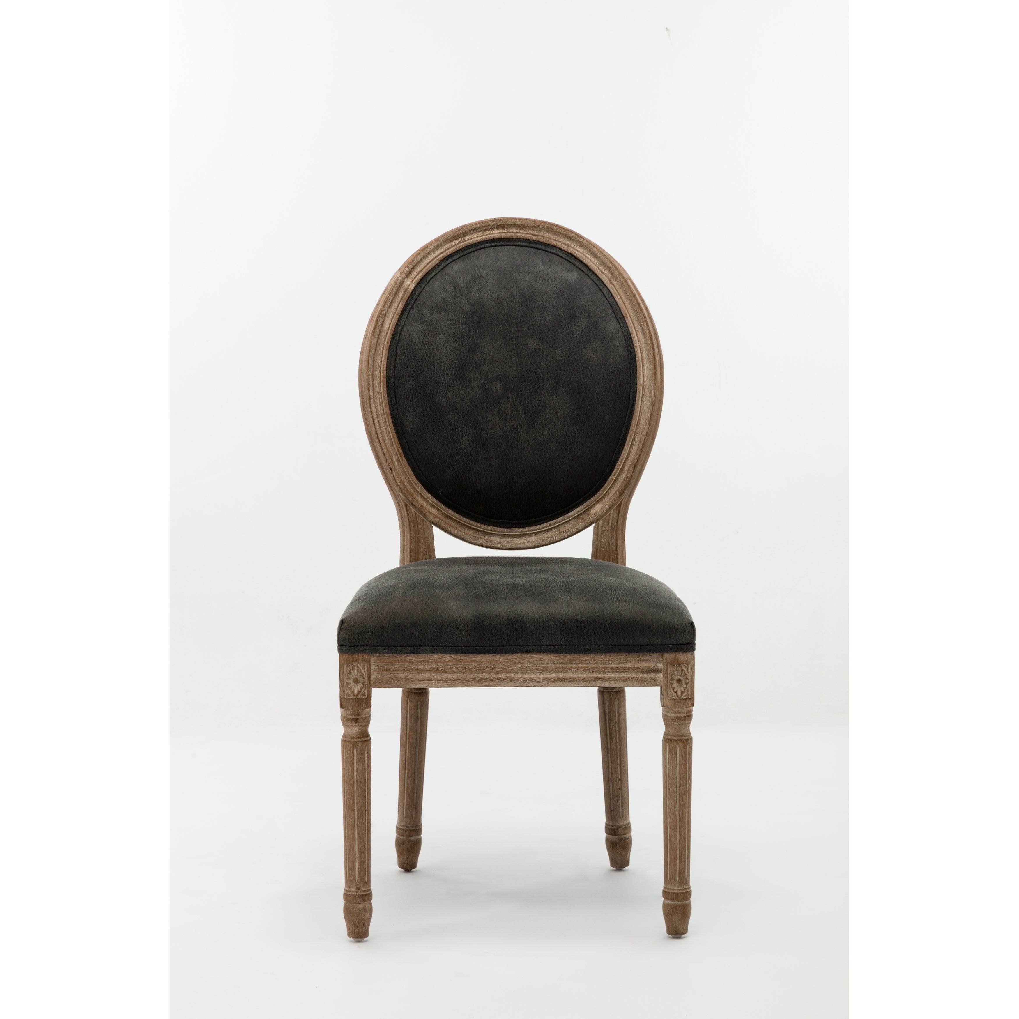 Joy Modern Farmhouse Grey Upholsetered Nailhead Wood Dining Room Chairs Set  of 2