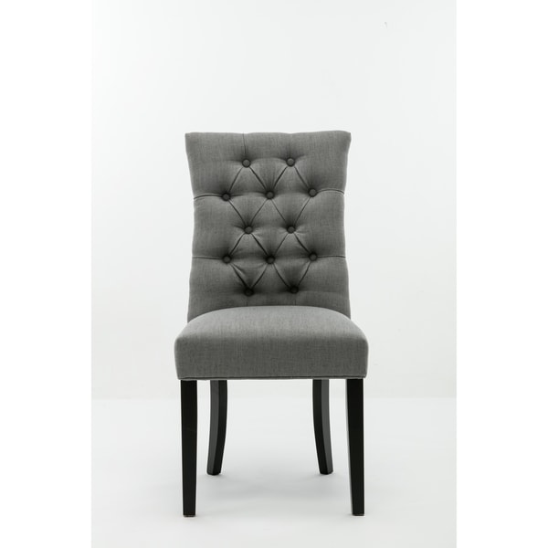 Michelle Grey Upholstered Tufted Dining Room Chairs Set Of 2