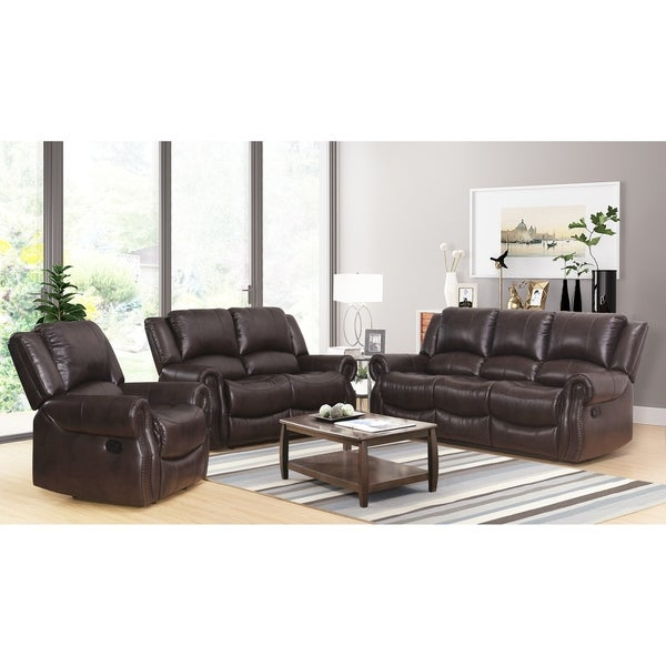 Abbyson Bradford Reclining Brown 3 Piece Faux Leather Living Room Set
