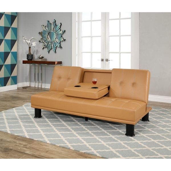 Mid Century Modern Bonded Leather Living Room Sofa Camel: Shop Abbyson Signature Camel Faux Leather Convertible Sofa