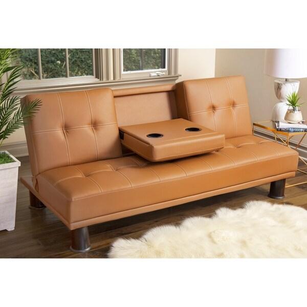 Shop Abbyson Signature Camel Faux Leather Convertible Sofa