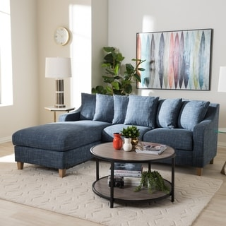 Contemporary Blue Fabric 2-Piece Left Facing Sofa by Baxton Studio