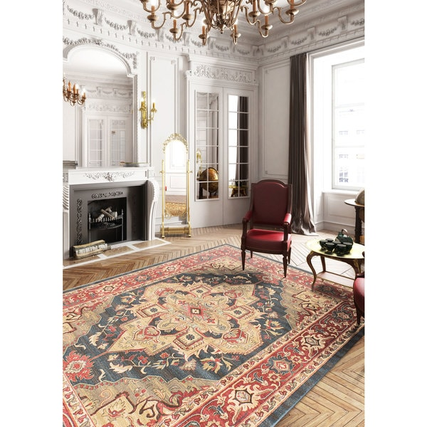 eCarpetGallery Homage Blue/Red Machine-woven Oriental Area Rug - 8' x 10'