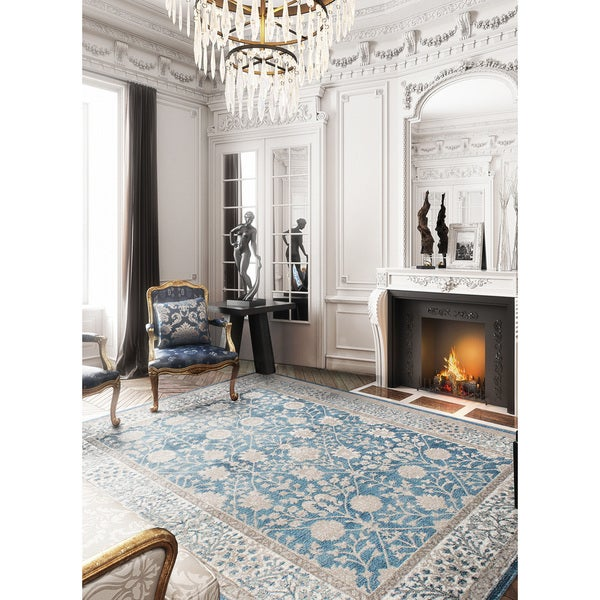 eCarpetGallery Homage Blue/Green Machine-woven Rug - 8'0 x 10'0