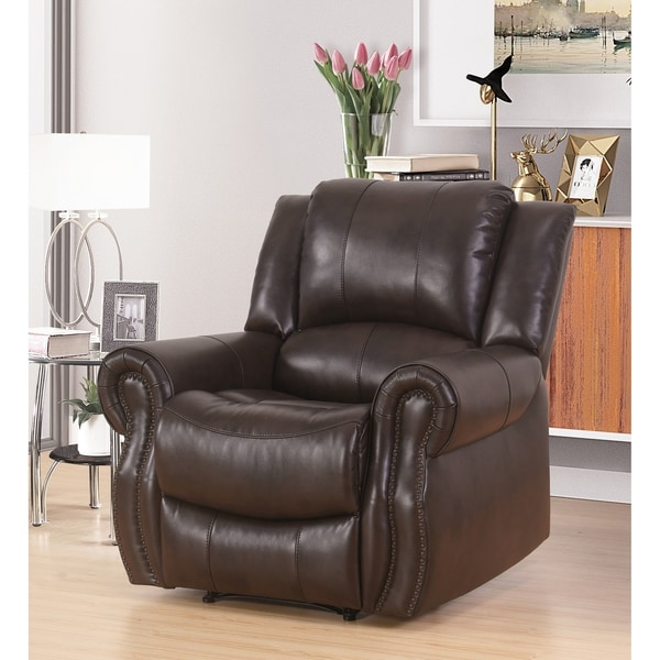 Shop Abbyson Bradford Brown Faux Leather Reclining